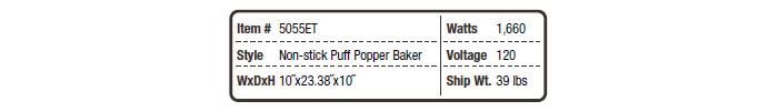 5055 ET Non-stick Puff Popper Baker